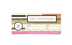 Word Gift Card Template Hairstylist Gift Certificate Template Word Publisher