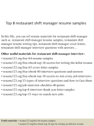 Shift Manager Resume Cool Top 60 Restaurant Shift Manager Resume Samples