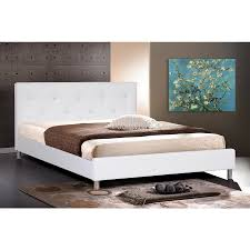 White modern platform bed White Leather Bison Office Barbara White Modern Bed With Crystal Button Tufting Full Size