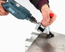 metal shears for drill. metal cutting head on electric drill for shears saw sheet cutter