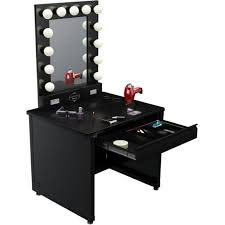 black makeup vanities for bedroom with lights