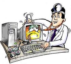 "This clipart image shows a man who is trying to fix the computer. The image is a metaphor of the man dressed as a ""doctor"" as he is trying to fix the computer."