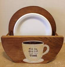 paper plate holder holder for plates paper plates wooden plate holder coffee decor bistro decor coffee gift coffee gift