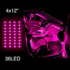 com pink 4pcs 36 led waterproof three mode neon accent light kit for car interior trunk truck bed bush fender automotive