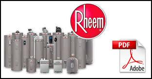 rheem water heater manuals water