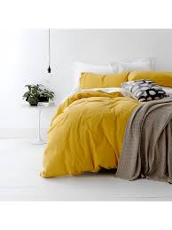 european vintage wash cotton quilt cover set super king bed mustard yellow