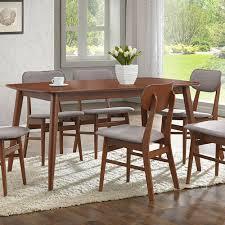 baxton studio sacramento medium brown wood dining table