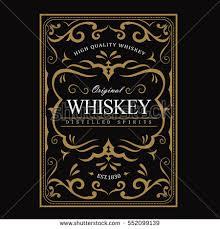 antique frame border. Whiskey Label Vintage Frame Border Antique Engraving Western Retro Vector Illustration
