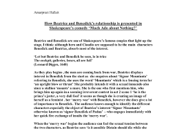how beatrice and benedick s relationship is presented in  document image preview