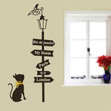 Road Sign Decorations BLACK Cat Road Sign Wall Sticker Decals HOME Decor Vinyl Art 3