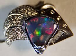 14k gold solid black opal and diamond pendant from lightning ridge australia