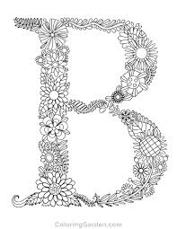 Floral Letter B Adult Coloring Page