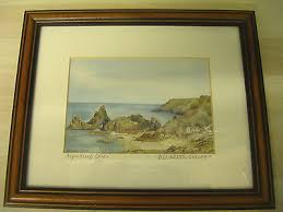 "Elisabeth Clarke KYNANCE COVE Cornwall Signed Watercolour print 4"" x 5.5 