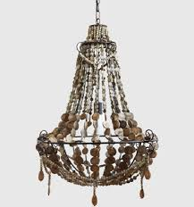 rustic chandelier with wood beads