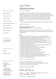 Marketing Assistant Resume Stunning Marketing Assistant CV Sample