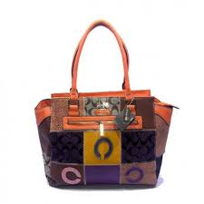 Coach Holiday Logo Medium Orange Satchels DKB
