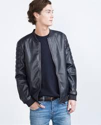 collection blue leather jacket men pictures reikian zara faux