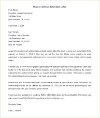 Termination Agreement Letter Template Contract Termination Letter