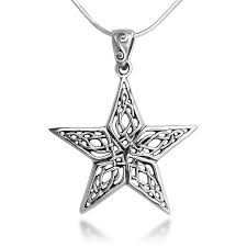 sterling silver 25 mm open celtic knot filigree large star pendant necklace 18 snake chain theme collection