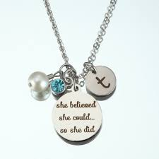 fashion jewelry snless steel she believed she could so she did letter necklace pearl love necklace gifts