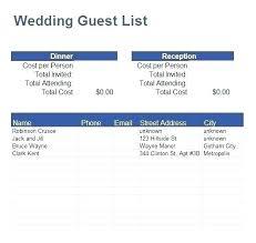 Wedding Guest List Template Excel Download Free Wedding Guest List Template Excel Download Grocery