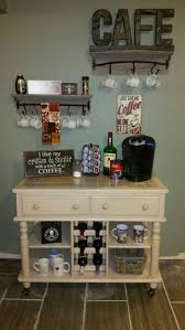 my new coffee bar inspired by pintrest found the knick knacks and pole bar shelves at hobby lobby and the buffet cart on craigslist for freeee love this attractive coffee bar home 4