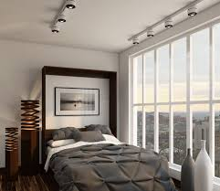 cool track lighting and modern murphy bed with gray bedding idea also unusual floor lamp design