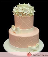 Simple Pink Hydrangea Bridal Shower Cake