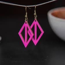 Ohrhänger Aus Holz Pink