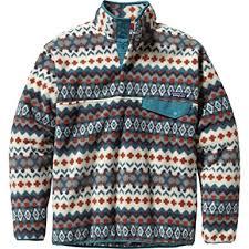 Patagonia Patterned Fleece Enchanting PATAGONIA Blousons Men Blue Synchilla SnapT Pattern SlipOn