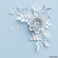 White Paper Flower Wall 3d Illustration White Paper Flowers Blue Pastel Decorative Floral