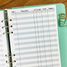 Checkbook Registers To Print Printed A6 Rings Checkbook Register Planner Insert 15 Double Sided Sheets