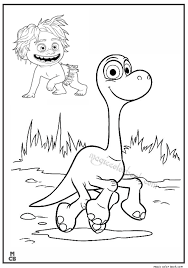 The Good Dinosaur Pictures To Color Arlo And Spot Rising Above The