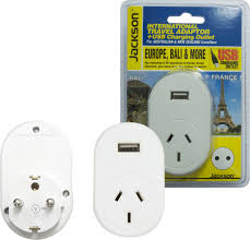 jackson pta8810usb outbound travel power adapter 1x usb ports converts nz to europe