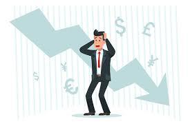 Down Arrow Chart Stressful Businessman Falling Profits Down Arrow Chart