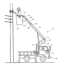 Patent boom truck drawing us fiber optic inter for bucket dual mode outrigger a or the