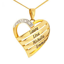 9ct yellow gold personalised diamond set heart pendant on 18 curb chain up to 4 names up to 7 letters each name optima jewellery