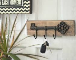 Rustic mail organizer key rack with mason jar, wall mail sorter and key  holder,