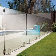 frameless glass barades spigots stainless steel swimming outdoor glass fence pictures photos