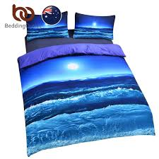 bedding moon and ocean bedding set cool 3d print duvet cover set home textiles soft blue bed spread au size crib bedding sets duvet sets from