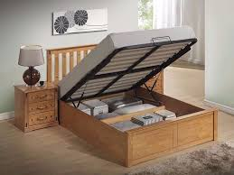 brand new complete wooden double king size ottoman storage bed frame available in white oak