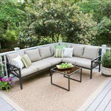 Image Patio Blakely Black 5piece Aluminum Outdoor Sectional With Tan Cushions The Home Depot Mediterranean Outdoor Sectionals Outdoor Lounge Furniture The
