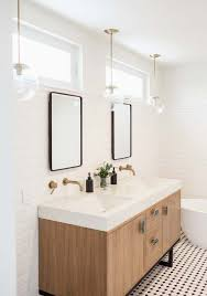 above mirror lighting bathrooms. Subway Walls, Double Mirrors With Windows Above, Contemporary Vanity, Globe Pendant Lights Above Mirror Lighting Bathrooms
