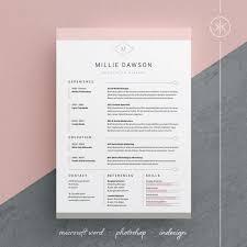 Indesign Creating A Modern Resume Millie Resume Cv Template Word Photoshop Indesign Professional Resume Design Cover Letter Instant Download