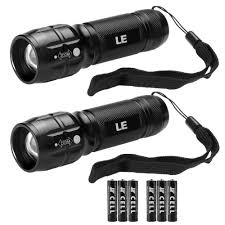 Lighting Ever 1200012 Le Led Torch Adjustable Focus Tactical Flashlight Powerful Handheld Torch Pocket Size Batteries Included Pack Of 2