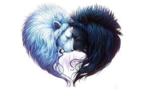 Heart Shaped Of Two White And Black Lion Heads Hd Wallpaper
