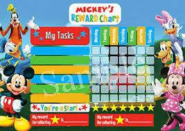 Details About Mickey Mouse Minnie Personalised Reward Chart Behaviour Chore Kids Activity