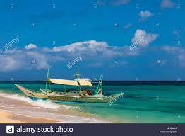 boracay philippines april 08 2018 tour boat on puka beach