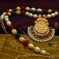nl1031 temple laxmi gold design delicate pendant ruby emerald pearl mala gold plated