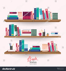 Bookshelves with colorful books and stationery on pastel pink wall  background